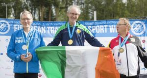 Track and Field, European Transplant Sport Week 2016, Vantaa, Finland. Ron Grainger is the man with the gold medal and Tricolour