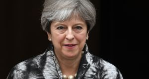 "British prime minister Theresa May: before Brexit she predicted ""Border controls"" if the referendum was carried; now, she speaks disingenuously of a ""frictionless"" Border. Photograph: Facundo Arrizabalaga/EPA"