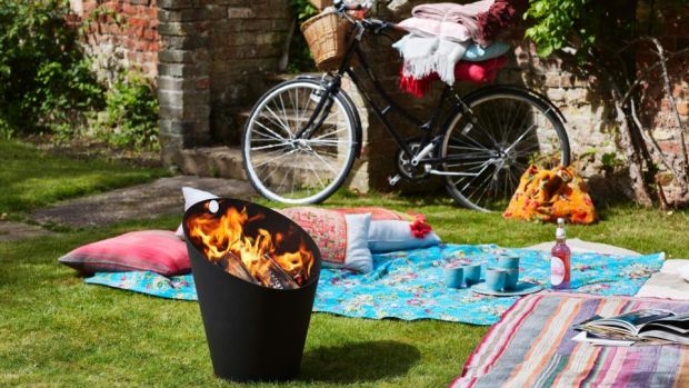 Cast-iron Morso fire pit from TJ O'Mahony; in Ballymount. Picnic blankets from Steamer Trader Cookshop