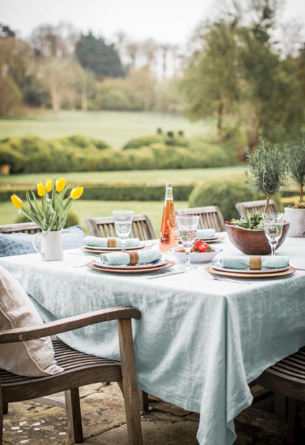 Hem-stitched tablecloth and napkins from The Linen Works