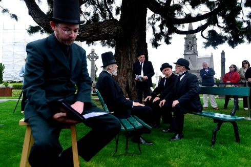Performers  during the re-enactment of Paddy Dignam's funeral at Glasnevin.  Photograph: Cyril Byrne / The Irish Times