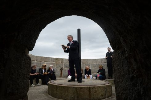 Actor Bryan Murray reading Ulysses  at  the Joyce Tower in Sandycove during the Bloomsday celebrations. Photograph: Cyril Byrne / The Irish Times