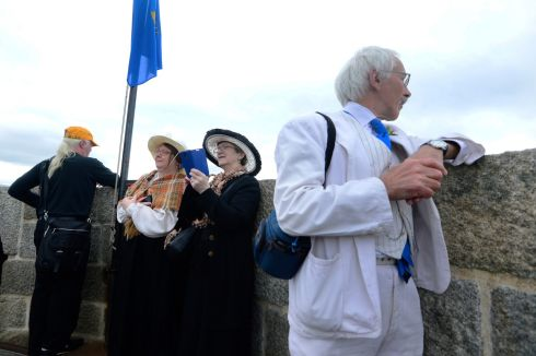 Listening to a reading of  Ulysses at  the Joyce Tower in Sandycove during the Bloomsday celebrations. Photograph: Cyril Byrne / The Irish Times