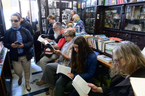The scene at Sweny's Chemist, Lincoln Place for a reading of Ulysses during Bloomsday. Photograph: Cyril Byrne / The Irish Times