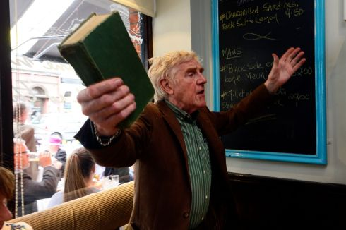 Eamon Morrissey performing at Cavistons Bloomsday breakfast in Glasthule.  Photograph: Cyril Byrne / The Irish Times