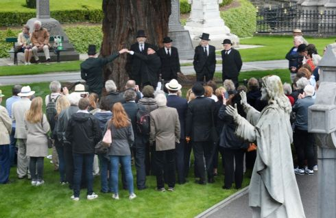 Scene during the re-enactment of Paddy Dignam's funeral at Glasnevin, yesterday. Photograph: Cyril Byrne / The Irish Times
