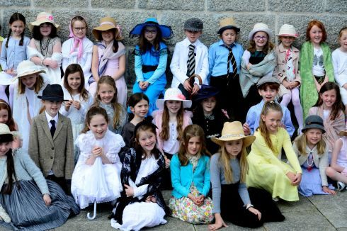 Pupils from Loreto Primary School, Dalkey at the Joyce Tower in Sandycove.  Photograph: Cyril Byrne / The Irish Times