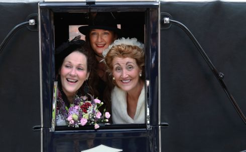 "Scene from ""Bloomsday In The Monto"",  including a mock wedding, organised by the North Inner City Folklore Project at Liberty House Park on Foley Street, Dublin 1.   Bride Connie Murphy with Bridesmaids Irene Crawley and Sue Porter prior to the ceremony.  Photograph: Nick Bradshaw / The Irish Times"