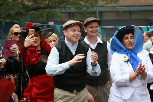 "Scene from ""Bloomsday In The Monto"",  including a mock wedding, organised by the North Inner City Folklore Project at Liberty House Park on Foley Street, Dublin 1.  Photograph: Nick Bradshaw / The Irish Times"