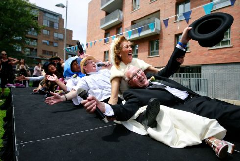 "Scene from ""Bloomsday In The Monto"",  including a mock wedding, organised by the North Inner City Folklore Project at Liberty House Park on Foley Street, Dublin 1. Former Lord Mayor and Councillor Christy Burke with his 'New' Bride Connie Murphy.  Photograph: Nick Bradshaw / The Irish Times"