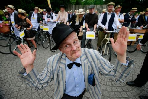 Paul Kennedy as James Joyce at the Bloomsday messenger bike rally & lunch in aid of the Irish Youth Foundation.   Photograph: Nick Bradshaw / The Irish Times