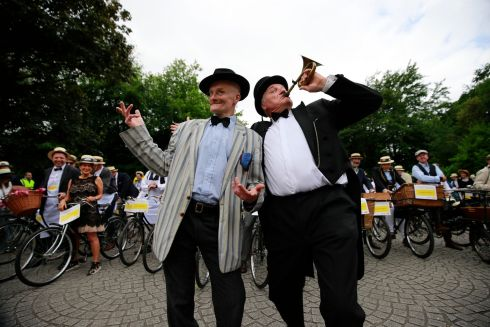 Paul Kennedy as James Joyce and Graham Wilkinson at the Mansion House Bloomsday messenger bike rally & lunch in aid of the Irish Youth Foundation.  Photograph: Nick Bradshaw / The Irish Times
