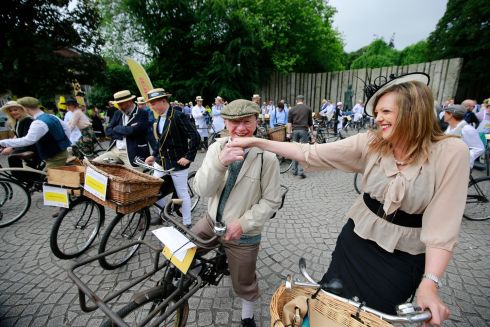 Pete Matthews and Rebecca Markey at the Bloomsday messenger bike & lunch in aid of the Irish Youth Foundation.    Photograph Nick Bradshaw / The Irish Times