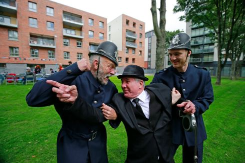 "Scene from ""Bloomsday In The Monto"",  including a mock wedding, organised by the North Inner City Folklore Project at Liberty House Park on Foley Street, Dublin 1.  Paddy Mudiff with Mick Rafferty and Darryl O'Callaghan Photograph: Nick Bradshaw / The Irish Times"