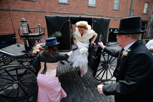 "Scene from ""Bloomsday In The Monto"",  including a mock wedding, organised by the North Inner City Folklore Project at Liberty House Park on Foley Street, Dublin 1. 'Bride and Groom' Councillor Christy Burke and Connie Murphy prior to the ceremony.  Photograph: Nick Bradshaw / The Irish Times"