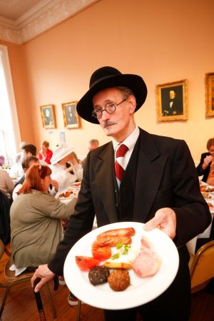 John Shevlin as James Joyce attending Bloomsday Breakfast at the James Joyce Centre,  supported by Dublin City Council.   Photograph: Conor McCabe