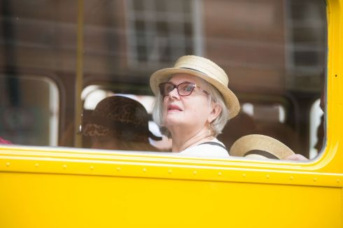 Fans of James Joyce aboard the Bloomsday Bus departing from the James Joyce Centre, Dublin. Photograph: Ruth Medjber