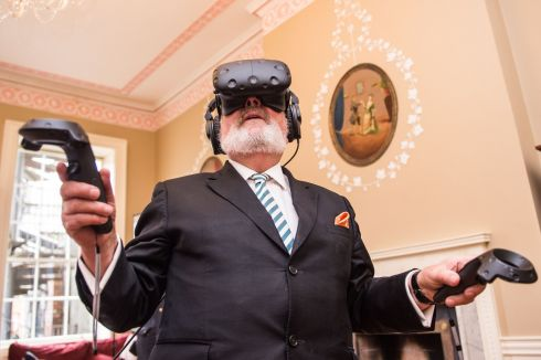 Senator David Norris while viewing the James Joyce Virtual Reality platform at the James Joyce Centre on Nth Great George's Street. Photograph: Ruth Medjber