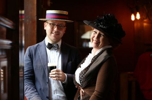 Henry Clarke and Valerie Manners  at the annual Bloomsday Breakfast and Celebrations in Kennedy's Pub,Westland Row,Dublin.    Photograph: Julien Behal