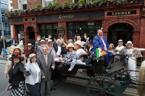 General scene during the annual Bloomsday Breakfast and Celebrations in Kennedy's Pub,Westland Row,Dublin.   Photograph:Julien Behal