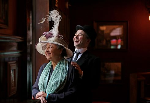 Spats Davenport as Leopold Bloom and Samira at the annual Bloomsday Breakfast and Celebrations in Kennedy's Pub,Westland Row.  Photograph: Julien Behal