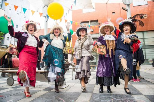 Ladies from Ennis, Bridie Frawley, Anne Burke, Margaret Horan, Carmel Kehoe and Noreen Fly, enjoying Bloomsday in Meeting House Square Temple Bar.  Photograph: Ruth Medjber