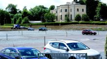 Part of the former athletics track at Belfield is now being used as a car park. Photograph: Cyril Byrne