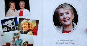 Images from a booklet for the wake  of Dr Ann Louise Gilligan. Credit: Colin Keegan, Collins Dublin