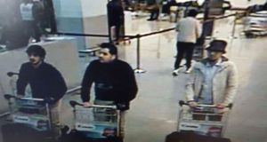 A picture released in March 2016 by Belgian police showing suspects of the attacks at Brussels Airport. Photograph: AFP/Getty Images