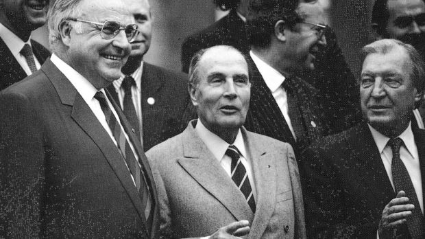 March 1990: West German chancellor Helmut Kohl, left, with French president François Mitterand and the taoiseach, Charles Haughey, at the EU summit in Dublin