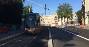 Trams were seen on the new Luas Cross City line outside Trinity College Dublin