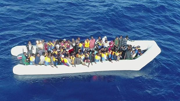 The LÉ Eithne rescued 703 migrants from five inflatable boats about 83km off the North West coast of Tripoli on Friday. Photograph: Defence Forces