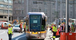 A Luas tram tests the new cross city line in Dublin on Saturday. Photograph: Nick Bradshaw