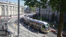 Luas travels up O'Connell Street for the first time