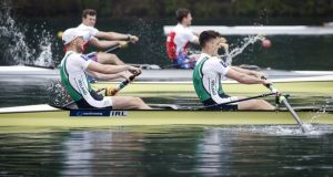 Mark O'Donovan and Shane O'Driscoll won their third gold medal on the trot in Poland. Photograph: Srdjan Stevanovic/Inpho