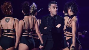 Robbie Williams performs on stage at The BRIT Awards 2017 at The O2 Arena on February 22, 2017. Photograph:  Gareth Cattermole/Getty Images