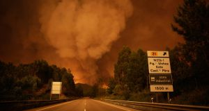 A smoke rises above trees during a forest fire in Pedrogao Grande. Photograph: EPA