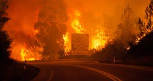 Flames are seen close to a road  during a forest fire in Pedrogao Grande. Photograph: EPA