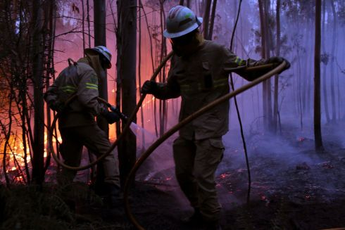 Portuguese National Republican Guard firefighters work to stop a forest fire from reaching the village of Avelar, central Portugal. Photo: AP Photo/Armando Franca