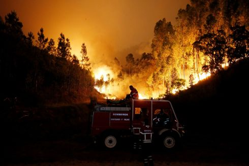 Firefighters work to put out a forest fire near Bouca, in central Portugal.  REUTERS/Rafael Marchante