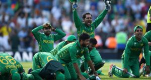 JUNE 18: Pakistan captain Sarfraz Ahmed celebrates after winning the ICC Champions Trophy final at the Oval. Photo by Gareth Copley/Getty Images