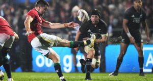 Conor Murray delivering one of his 10 kicks for the Lions during the win against Maori All Blacks. Photograph: Andrew Cornaga/Photosport/Inpho