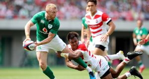 Keith Earls was impressive again as Ireland routed Japan. Photograph: Ryan Byrne/Inpho
