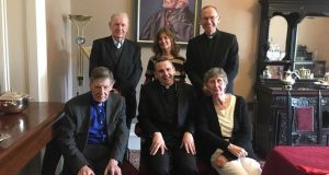 Trustees of St Flannan's College, Ennis, with Bishop Fintan Monahan (back right). Back: Fr Seamus Gardiner and parent Phil Costigan. Front: Canon Reuben Butler, principal Fr Ignatius McCormack, former staff member Maura Hitching.