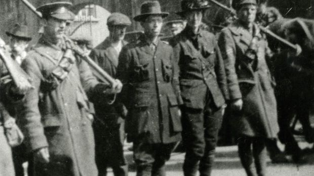 Michael Mallin and Countess Markievicz being escorted away by government troops, Easter rising 1916. Photograph: Courtesy of National Museum of Ireland