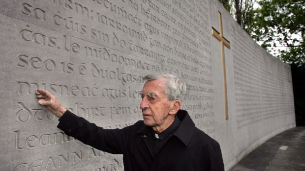 Fr Joe Mallin, son of the Irish patriot Michael Mallin, views the proclamation memorial following the 1916 Commemoration Ceremony at Arbour Hill, Dublin. Photograph: Matt Kavanagh