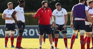 British and Irish Lions defence coach Andy Farrell talks to the forwards during training. Photograph: Billy Stickland/Inpho