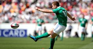 Ireland's Paddy Jackson kicks a conversion in Saturday's win over Japan. Photograph: Inpho