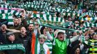 Celtic fans during the derby against Rangers in March. Photograph: Mark Runnacles/Getty Images