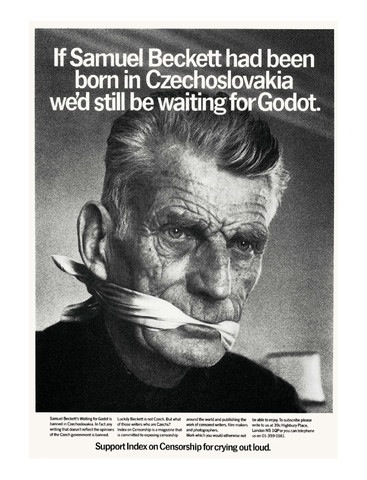 Part of an Index on Censorship campaign that Samuel Beckett supported to bring attention to the plight of writers in then Czechoslovakia